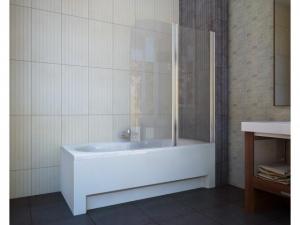 Шторка на ванну Koller Pool 1150x1400 chrome; grape QP95(left), фото